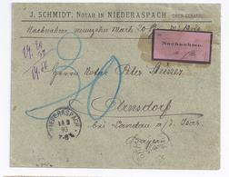 DR Frankreich 1893, Nachnahme Brief V. Niederaspach Elsass N. Bayern. #1401 - Deutschland