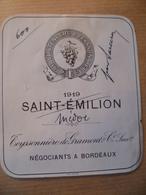 Ancienne étiquette De Vin Saint émilion 1919 J.H.WUSTENBERG & TEYSSONNIERE DE GRAMONT - Red Wines