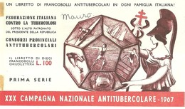 """6067 """" ERINNOFILI-XXX CAMPAGNA NAZIONALE ANTITUBERCOLARE-1967-PRIMA SERIE-LIBRETTO DI 10 FRANCOBOLLI"""" - Erinnofilia"""