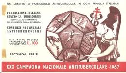 """6068 """" ERINNOFILI-XXX CAMPAGNA NAZIONALE ANTITUBERCOLARE-1967-SECONDA SERIE-LIBRETTO DI 10 FRANCOBOLLI"""" - Vignetten (Erinnophilie)"""