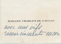 Madame Charles De Gaulle   CDV - Autographes