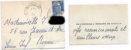 Le Général Et Madame De Gaulle  CDV + Enveloppe 1952  Colombey - Autogramme & Autographen