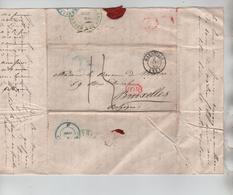 PR7648/ Précurseur LAC C.Marseille 2/1/1845 Port 15 Encadré 10.R Rouge-Orange Entré France Par Quiévrain Vert > BXL - 1801-1848: Precursores XIX