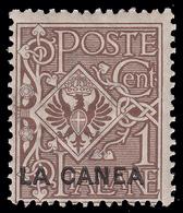 "Italia - Isole Egeo:  LA CANEA (Creta): Francobollo D' Italia 1901/05 ""Floreale"" - 1 C. Bruno - 1905 - 11. Oficina De Extranjeros"