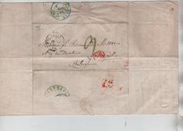 PR7649/ Précurseur LAC C.Paris 1845 Encadré 1.R Port Entrée France Par Quiévrain Vert > BXL C.d'arrivée Port 9 - 1801-1848: Precursores XIX