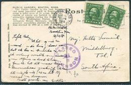 1918 USA Boston Postcard - Middelburg Transvaal, South Africa. Censor - United States