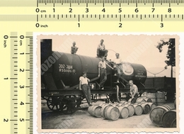 1939 Yugoslav State Railways JDZ REAL PHOTO Men Workers Shirtless Guy Barrels, Train Tank VINTAGE ORIGINAL SNAPSHOT - Treni