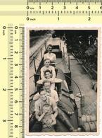 1939 Yugoslav State Railways JDZ REAL PHOTO People On Train Tank Men Guys Boy Abstract OLD VINTAGE ORIGINAL SNAPSHOT - Treni