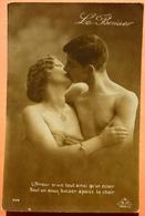 CARTE COUPLE DENUDE - LE BAISER  - ABM 344 - L'AMOUR BRULE TOUT... - SCAN RECTO/VERSO - Couples