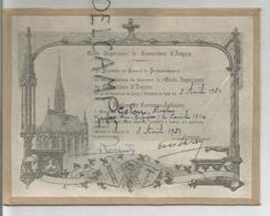 Ecole Supérieure De Couverture D'Angers. Nicolas Gelon Le 3 Avril 1954 - Diplomas Y Calificaciones Escolares