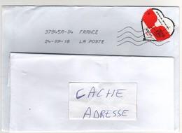 """Beau Timbre , Stamp  """" Coeur  : Sonia Rykiel """" Sur Lettre , Enveloppe , Cover  Du 24/09/2018 - Lettres & Documents"""