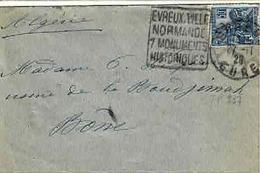 TP  N° 257 Seul Sur Enveloppe De Evreux Pour L'Algérie - 1921-1960: Modern Period