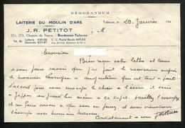 33 GirondeTalence Bordeaux Laiterie Du Moulin D'Ars Lettre Manuscrite J.R. PETITOT - Vieux Papiers