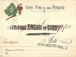 "6078 ""DITTA PAOLO ZINGARI FU GIUSEPPE-ASTI-PRODUTTORE VINI FINI E DA PASTO"" - Visiting Cards"