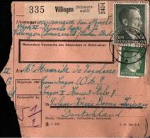 ! 1943 Paketkarte Deutsches Reich, Villingen Im Schwarzwald, Fa.Kienzle, Zwangsarbeiter - Germania