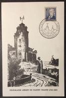 CM777 Chappe 619 2ème CARTE TRANSPORTÉE Par BALLON Centenaire Télégraphe Aérien Brulon 30/6/1963 Carte Maximum - Maximum Cards