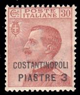 LEVANTE - COSTANTINOPOLI - Francobollo D'Italia 1901/19: 3 Pi. Su 30 C. Vbruno Arancio - 1922 - Oficinas Europeas Y Asiáticas