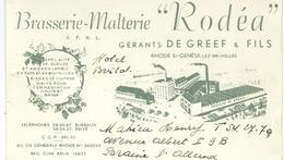 Superbe Carton Publicité BRASSERIE - MALTERIE RODEA - Rhode St-Genese - TRES RARE DOCUMENT - 15/9 Cm - Publicités