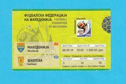 MACEDONIAvs SCOTLAND - 2008. FIFA WORLD CUP QUALIF. Football Match Ticket * Soccer Fussball Calcio Foot Futbol Billet - Tickets - Entradas