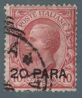 LEVANTE - COSTANTINOPOLI - Francobollo D'Italia 1901/06 (Seconda Emissione Locale): 20 Pa. Su 10 C. Rosa (82) - 1908 - Oficinas Europeas Y Asiáticas