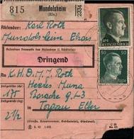 ! 1943 Paketkarte Deutsches Reich, Mundolsheim, Elsass, Torgau - Alsace-Lorraine