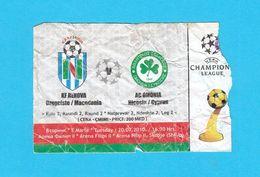 KF RENOVAvs AC OMONIA Nicosia - 2010 UEFA CHAMPIONS LEAGUE Football Match Ticket * Soccer Fussball Calcio Billet Cyprus - Tickets - Entradas