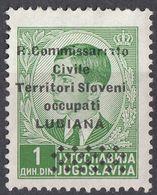 LUBIANA, OCCUPAZIONE ITALIANA - 1941 - Unificato 20 Nuovo Senza Gomma, Verde/giallo, 1 Din. - 9. WW II Occupation (Italian)