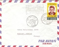 Sénégal 1964 - Enveloppe PA De Dakar à Bussière- Dunoise - Cachet Ier Jour Sur Pa 46 - Kennedy - Cachet Reception Niort - Senegal (1960-...)