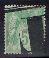 RARE OBLITERATION TYPOGRAPHIQUE Sur TIMBRE SAGE 5c VERT-JAUNE N° 102 OBLITÉRÉ TB SANS DÉFAUT - 1898-1900 Sage (Tipo III)