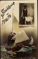 Cp Gruß Aus Malta, Bauer Mit Ziege, Pärchen Verliebt Auf Segelboot - Malta