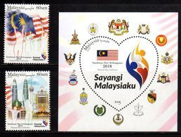 MALAYSIA, 2018, MNH, NATIONAL DAY, PETRONAS TOWERS, COAT OF ARMS, FLAGS,  2v+S/SHEET - Celebrations