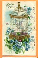 LAC186, Bonne Fête, Belle Fantaisie, Relief, Dorée, Cage à Oiseau Avec Une Perruche Bleue,Bird,Précurseur, Circulée 1905 - Fêtes - Voeux