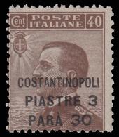 LEVANTE - COSTANTINOPOLI - Francobollo D'Italia 1901/20: 3 Piastre, 30 Pa. Su 40 C. Bruno - 1923 - Oficinas Europeas Y Asiáticas