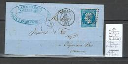France -Lettre  Yvert 14 - Sedan - Ardennes - Facteur G - IDENTIFIE DE GIVONNE - Marcofilia (sobres)