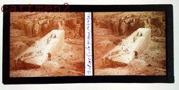 BAALBEK LIBAN LEBANON TEMPLE DE BACCHUS COLONNE PLAQUE DE VERRE STÉRÉOSCOPIQUE SYRIA MOYEN-ORIENT - Líbano