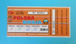 POLAND Vs RUSSIA - 1998 International Friendly Football Match Ticket * Soccer Fussball Calcio Foot Futbol Futebol Polska - Tickets D'entrée
