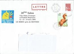 """Prêt à Poster - PAP LETTRE 50g """" LE RHEU Près De RENNES - Les Tablées, Salon Vin Pain Fromage 2004 """" Ob. (Rep. Luquet) - Entiers Postaux"""