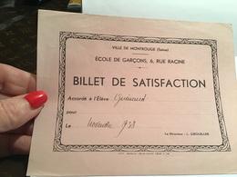 Ville De Montrouge école De Garçon Billet De Satisfaction Accordée à L'élève - Diplomas Y Calificaciones Escolares