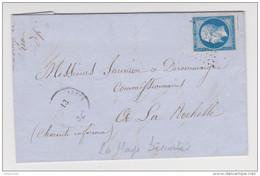 N° 14 LA HAYE DESCARTES 13 OCTOBRE 1860 POUR LA ROCHELLE CACHET PARIS A BORDEAUX - ZOOM SUR TIMBRE - Poststempel (Briefe)