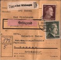 ! 1943 Paketkarte Deutsches Reich, Bad Wildungen, Nach Torgau, Wehrmachtsgefängnis - Allemagne