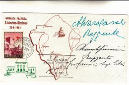 Giornata Filatelica S.Marino-Riccione. Cover Con  L.25 Croce Rossa Sammarinese 20-08-1951 - Covers & Documents