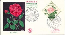 Monaco FDC 16-5-1959 ROSE Grace De Monaco With Cachet - FDC