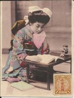 * CARTE JAPONAISE POSTEE DE CHINE , Jeune Japonaise Lisant , Carte Postée De CHINE ( TIEN TSIN ) Le 14 Octobre 1912 - Other