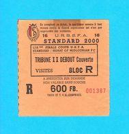 STANDARD DE LIEGE Vs HEART OF MIDLOTHIAN FC - 1992 UEFA CUP Football Match Ticket * Foot Billet Belgium Belgie Scotland - Tickets D'entrée