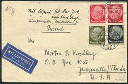 1938 Germany 55 Pfg Rate Airmail / Ship (SS Deutschland) Cover Berlin -  Hirschberg, Jacksonville Florida USA. - Briefe U. Dokumente