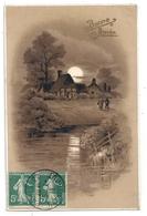 CARTE De BONNE  ANNEE Avec  JOLI PAYSAGE . CARTE AFFR SUR RECTO LE 3-1-1916 - Nouvel An