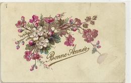 CARTE De BONNE  ANNEE Avec  FLEURS . CARTE AFFR AU VERSO LE 2-1-1907 . 2 SCANES - Nouvel An