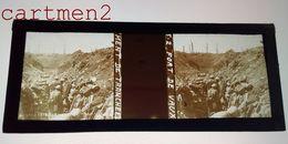 PLAQUE DE VERRE STÉRÉOSCOPIQUE GUERRE 1914-1918 FORT DE VAUX MARNE TRANCHEE MILITAIRE - Diapositivas De Vidrio