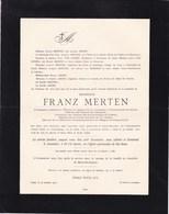 GREVENMACHER GAND Franz MERTEN Professeur école Génie Civil Université De Gand 1833-1911 Famille ARENS VAN DURME - Todesanzeige