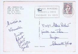 VENDEE - Flamme Illustrée à Gauche - Mimosas - NOIRMOUTIER EN L'ÎLE De 1965 - Marcophilie (Lettres)